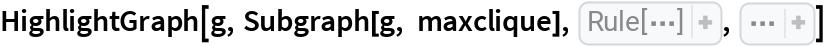 "HighlightGraph[g, Subgraph[g, maxclique], VertexCoordinates -> ReplacePart[ GraphEmbedding[g, ""SpringElectricalEmbedding""],  Thread[Map[VertexIndex[g, #]& ,  First[maxclique]] -> CirclePoints[{3., 1}, 0.6,  Length[ First[maxclique]]]]], Sequence[  EdgeStyle -> {Blank[] -> Opacity[0.05]}, GraphLayout -> ""SpringElectricalEmbedding"", VertexSize -> {Blank[] -> 0.5}]]"