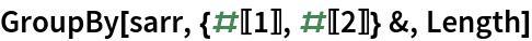 GroupBy[sarr, {#[[1]], #[[2]]} &, Length]