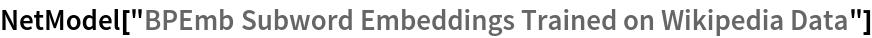 "NetModel[""BPEmb Subword Embeddings Trained on Wikipedia Data""]"