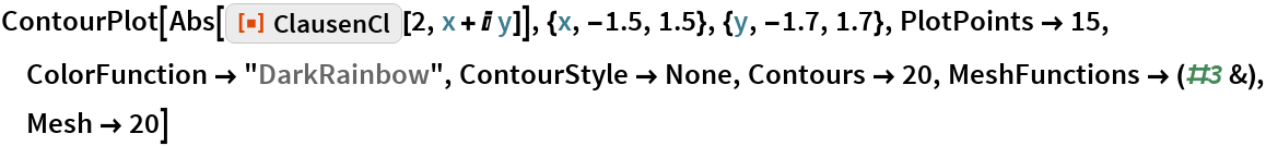 "ContourPlot[  Abs[ResourceFunction[""ClausenCl""][2, x + I y]], {x, -1.5, 1.5}, {y, -1.7, 1.7}, PlotPoints -> 15, ColorFunction -> ""DarkRainbow"", ContourStyle -> None, Contours -> 20,   MeshFunctions -> (#3 &), Mesh -> 20]"