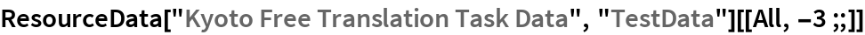 "ResourceData[""Kyoto Free Translation Task Data"", ""TestData""][[All, -3 ;;]]"