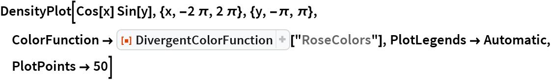 "DensityPlot[Cos[x] Sin[y], {x, -2 \[Pi], 2 \[Pi]}, {y, -\[Pi], \[Pi]},   ColorFunction -> ResourceFunction[""DivergentColorFunction""][""RoseColors""], PlotLegends -> Automatic, PlotPoints -> 50]"