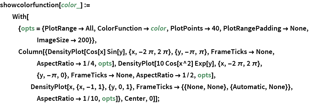 showcolorfunction[color_] := With[{opts = {PlotRange -> All, ColorFunction -> color, PlotPoints -> 40, PlotRangePadding -> None, ImageSize -> 200}}, Column[{DensityPlot[       Cos[x] Sin[y], {x, -2 \[Pi], 2 \[Pi]}, {y, -\[Pi], \[Pi]}, FrameTicks -> None, AspectRatio -> 1/4, opts], DensityPlot[       10 Cos[x^2] Exp[y], {x, -2 \[Pi], 2 \[Pi]}, {y, -\[Pi], 0}, FrameTicks -> None, AspectRatio -> 1/2, opts], DensityPlot[x, {x, -1, 1}, {y, 0, 1}, FrameTicks -> {{None, None}, {Automatic, None}}, AspectRatio -> 1/10, opts]}, Center, 0]];
