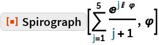 "ResourceFunction[""Spirograph""][\!\( \*UnderoverscriptBox[\(\[Sum]\), \(j = 1\), \(5\)] \*FractionBox[ SuperscriptBox[\(E\), \(j\ I\ \ \[CurlyPhi]\)], \(j + 1\)]\), \[CurlyPhi]]"