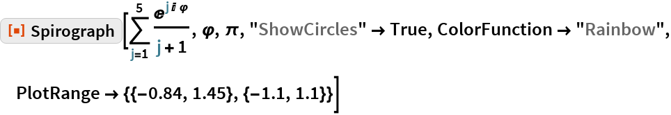 "ResourceFunction[""Spirograph""][\!\( \*UnderoverscriptBox[\(\[Sum]\), \(j = 1\), \(5\)] \*FractionBox[ SuperscriptBox[\(E\), \(j\ I\ \[CurlyPhi]\)], \(j + 1\)]\), \[CurlyPhi], \[Pi], ""ShowCircles"" -> True, ColorFunction -> ""Rainbow"", PlotRange -> {{-0.84, 1.45}, {-1.1, 1.1}}]"