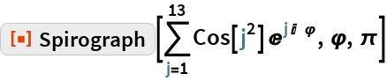"ResourceFunction[""Spirograph""][\!\( \*UnderoverscriptBox[\(\[Sum]\), \(j = 1\), \(13\)]\(Cos[ \*SuperscriptBox[\(j\), \(2\)]]\  \*SuperscriptBox[\(E\), \(j\ I\ \ \[CurlyPhi]\)]\)\), \[CurlyPhi], \ \[Pi]]"