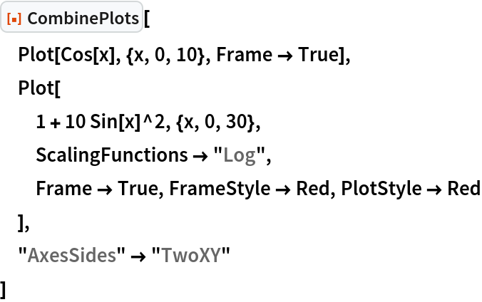 """ResourceFunction[""""CombinePlots""""][  Plot[Cos[x], {x, 0, 10}, Frame -> True],  Plot[   1 + 10 Sin[x]^2, {x, 0, 30},   ScalingFunctions -> """"Log"""",   Frame -> True, FrameStyle -> Red, PlotStyle -> Red   ],  """"AxesSides"""" -> """"TwoXY""""  ]"""