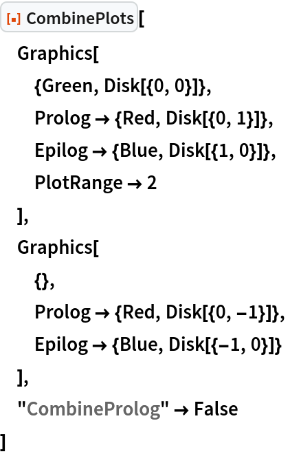 """ResourceFunction[""""CombinePlots""""][  Graphics[   {Green, Disk[{0, 0}]},   Prolog -> {Red, Disk[{0, 1}]},   Epilog -> {Blue, Disk[{1, 0}]},   PlotRange -> 2   ],  Graphics[   {},   Prolog -> {Red, Disk[{0, -1}]},   Epilog -> {Blue, Disk[{-1, 0}]}   ],  """"CombineProlog"""" -> False  ]"""