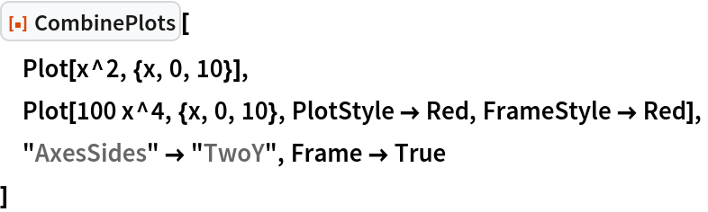 """ResourceFunction[""""CombinePlots""""][  Plot[x^2, {x, 0, 10}],  Plot[100 x^4, {x, 0, 10}, PlotStyle -> Red, FrameStyle -> Red],  """"AxesSides"""" -> """"TwoY"""", Frame -> True  ]"""
