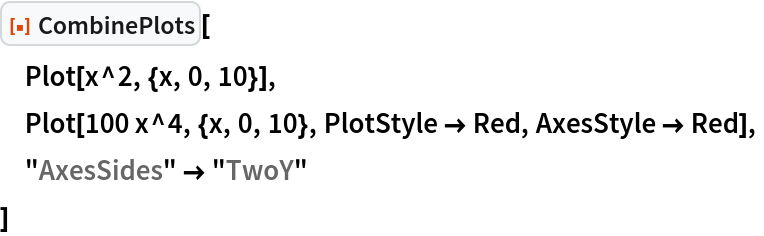 """ResourceFunction[""""CombinePlots""""][  Plot[x^2, {x, 0, 10}],  Plot[100 x^4, {x, 0, 10}, PlotStyle -> Red, AxesStyle -> Red],  """"AxesSides"""" -> """"TwoY""""  ]"""