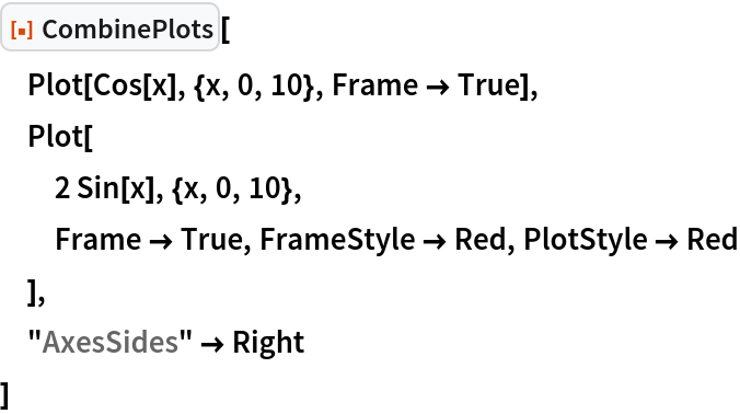 """ResourceFunction[""""CombinePlots""""][  Plot[Cos[x], {x, 0, 10}, Frame -> True],  Plot[   2 Sin[x], {x, 0, 10},   Frame -> True, FrameStyle -> Red, PlotStyle -> Red   ],  """"AxesSides"""" -> Right  ]"""