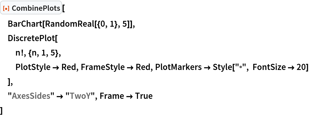 """ResourceFunction[""""CombinePlots""""][  BarChart[RandomReal[{0, 1}, 5]],  DiscretePlot[   n!, {n, 1, 5},   PlotStyle -> Red, FrameStyle -> Red, PlotMarkers -> Style[""""\[Bullet]"""", FontSize -> 20]   ],  """"AxesSides"""" -> """"TwoY"""", Frame -> True  ]"""
