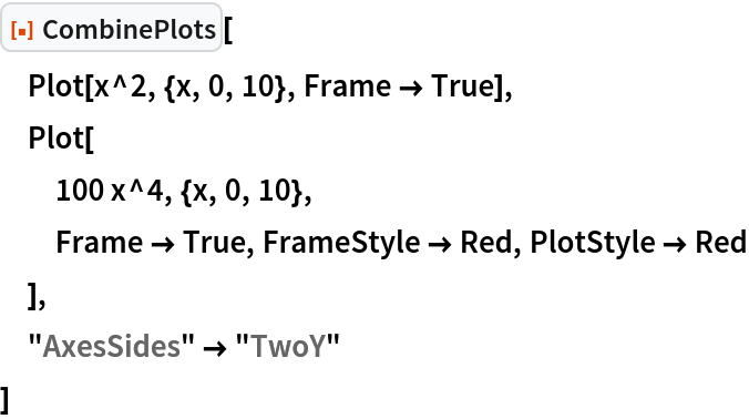 """ResourceFunction[""""CombinePlots""""][  Plot[x^2, {x, 0, 10}, Frame -> True],  Plot[   100 x^4, {x, 0, 10},   Frame -> True, FrameStyle -> Red, PlotStyle -> Red   ],  """"AxesSides"""" -> """"TwoY""""  ]"""