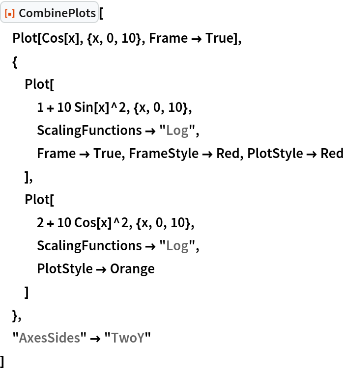 """ResourceFunction[""""CombinePlots""""][  Plot[Cos[x], {x, 0, 10}, Frame -> True],  {   Plot[    1 + 10 Sin[x]^2, {x, 0, 10},    ScalingFunctions -> """"Log"""",    Frame -> True, FrameStyle -> Red, PlotStyle -> Red    ],   Plot[    2 + 10 Cos[x]^2, {x, 0, 10},    ScalingFunctions -> """"Log"""",    PlotStyle -> Orange    ]   },  """"AxesSides"""" -> """"TwoY""""  ]"""