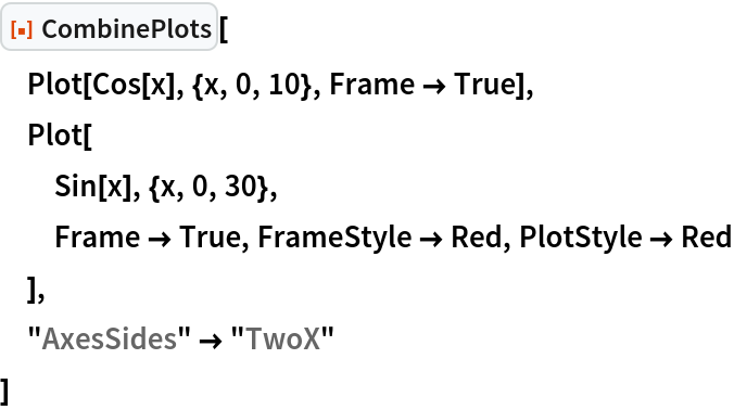 """ResourceFunction[""""CombinePlots""""][  Plot[Cos[x], {x, 0, 10}, Frame -> True],  Plot[   Sin[x], {x, 0, 30},   Frame -> True, FrameStyle -> Red, PlotStyle -> Red   ],  """"AxesSides"""" -> """"TwoX""""  ]"""
