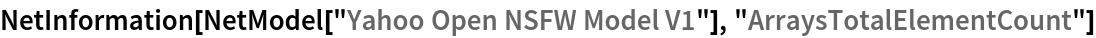 "NetInformation[  NetModel[""Yahoo Open NSFW Model V1""], ""ArraysTotalElementCount""]"