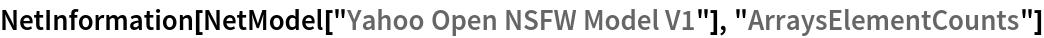 "NetInformation[  NetModel[""Yahoo Open NSFW Model V1""], ""ArraysElementCounts""]"