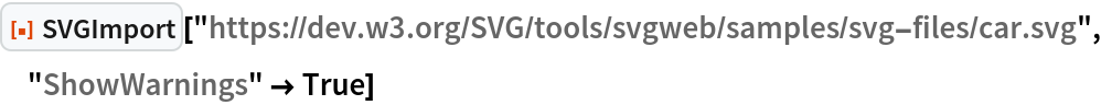 "ResourceFunction[  ""SVGImport""][""https://dev.w3.org/SVG/tools/svgweb/samples/svg-files/\ car.svg"", ""ShowWarnings"" -> True]"