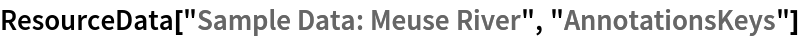 "ResourceData[\!\(\* TagBox[""\""\<Sample Data: Meuse River\>\"""", #& , BoxID -> ""ResourceTag-Sample Data: Meuse River-Input"", AutoDelete->True]\), ""AnnotationsKeys""]"
