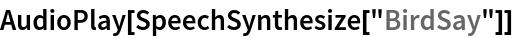 "AudioPlay[SpeechSynthesize[""BirdSay""]]"