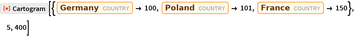 "ResourceFunction[  ""Cartogram""][{Entity[""Country"", ""Germany""] -> 100, Entity[""Country"", ""Poland""] -> 101, Entity[""Country"", ""France""] -> 150}, 5, 400]"