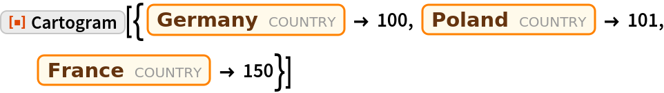 "ResourceFunction[  ""Cartogram""][{Entity[""Country"", ""Germany""] -> 100, Entity[""Country"", ""Poland""] -> 101, Entity[""Country"", ""France""] -> 150}]"