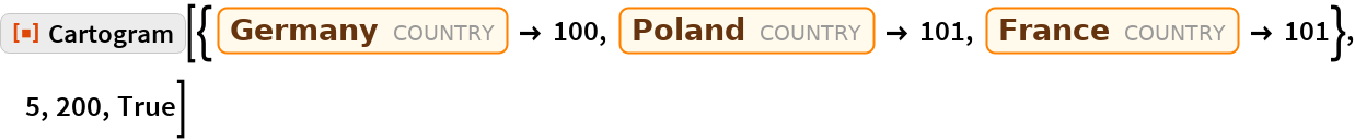 "ResourceFunction[  ""Cartogram""][{Entity[""Country"", ""Germany""] -> 100, Entity[""Country"", ""Poland""] -> 101, Entity[""Country"", ""France""] -> 101}, 5, 200, True]"