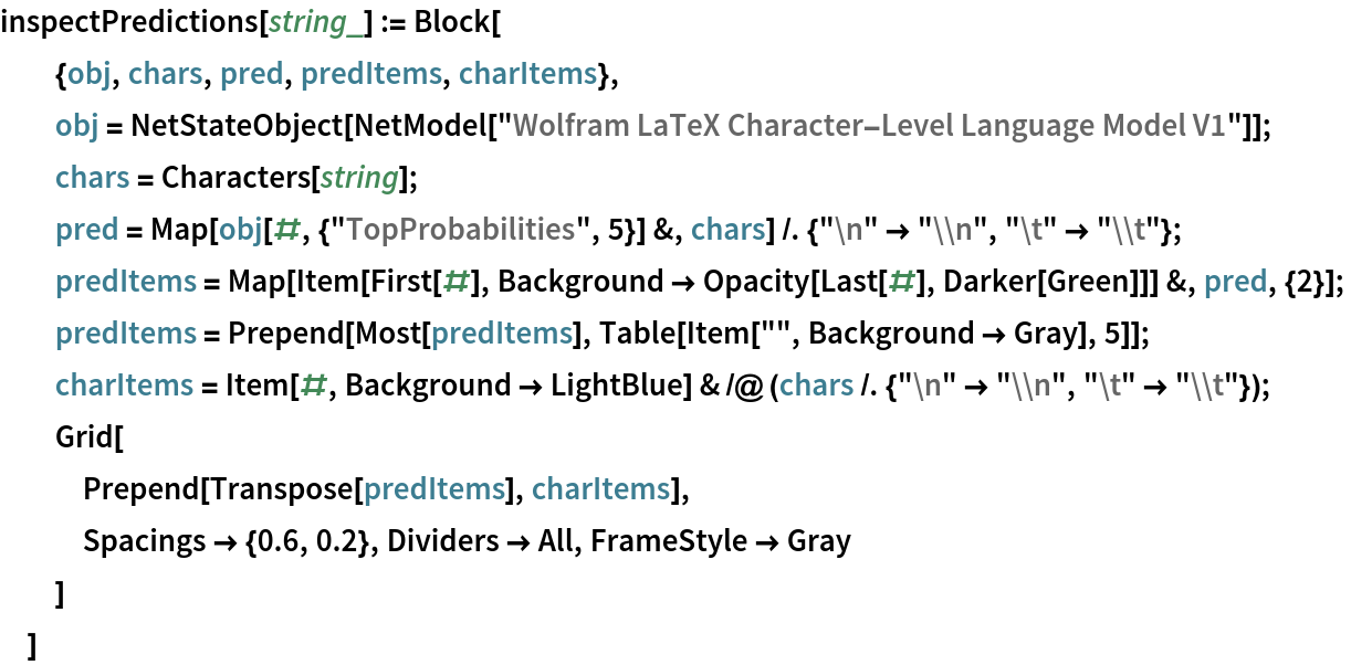 """inspectPredictions[string_] := Block[   {obj, chars, pred, predItems, charItems},   obj = NetStateObject[     NetModel[""""Wolfram LaTeX Character-Level Language Model V1""""]];   chars = Characters[string];   pred = Map[obj[#, {""""TopProbabilities"""", 5}] &, chars] /. {""""\n"""" -> """"\\n"""", """"\t"""" -> """"\\t""""};   predItems = Map[Item[First[#], Background -> Opacity[Last[#], Darker[Green]]] &, pred, {2}];   predItems = Prepend[Most[predItems], Table[Item["""""""", Background -> Gray], 5]];   charItems = Item[#, Background -> LightBlue] & /@ (chars /. {""""\n"""" -> """"\\n"""", """"\t"""" -> """"\\t""""});   Grid[    Prepend[Transpose[predItems], charItems],    Spacings -> {0.6, 0.2}, Dividers -> All, FrameStyle -> Gray    ]   ]"""