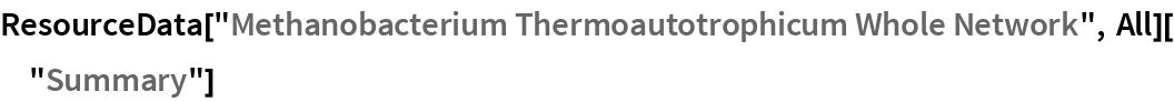"ResourceData[""Methanobacterium Thermoautotrophicum Whole Network"", All][""Summary""]"