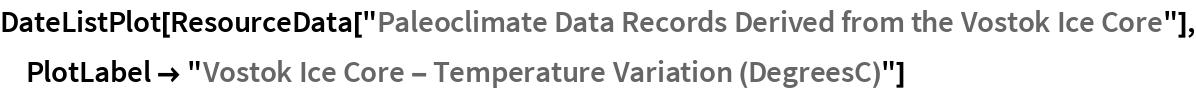 "DateListPlot[  ResourceData[   ""Paleoclimate Data Records Derived from the Vostok Ice Core""], PlotLabel -> ""Vostok Ice Core - Temperature Variation (DegreesC)""]"