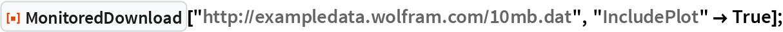 "ResourceFunction[""MonitoredDownload""][   ""http://exampledata.wolfram.com/10mb.dat"", ""IncludePlot"" -> True];"