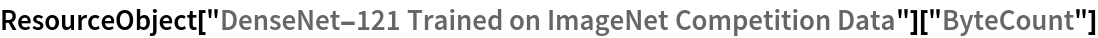 "ResourceObject[   ""DenseNet-121 Trained on ImageNet Competition Data""][""ByteCount""]"