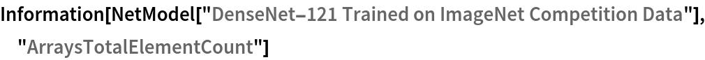 "Information[  NetModel[""DenseNet-121 Trained on ImageNet Competition Data""], \ ""ArraysTotalElementCount""]"