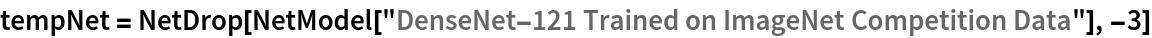 "tempNet = NetDrop[NetModel[    ""DenseNet-121 Trained on ImageNet Competition Data""], -3]"