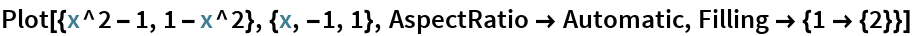 Plot[{x^2 - 1, 1 - x^2}, {x, -1, 1}, AspectRatio -> Automatic, Filling -> {1 -> {2}}]
