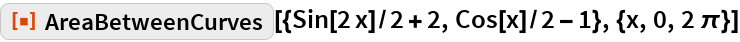 """ResourceFunction[  """"AreaBetweenCurves""""][{Sin[2 x]/2 + 2, Cos[x]/2 - 1}, {x, 0, 2 \[Pi]}]"""