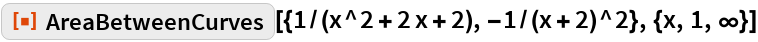 """ResourceFunction[  """"AreaBetweenCurves""""][{1/(x^2 + 2 x + 2), -1/(x + 2)^2}, {x, 1, \[Infinity]}]"""