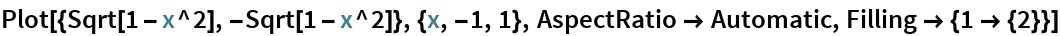 Plot[{Sqrt[1 - x^2], -Sqrt[1 - x^2]}, {x, -1, 1}, AspectRatio -> Automatic, Filling -> {1 -> {2}}]