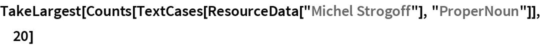 "TakeLargest[  Counts[TextCases[ResourceData[""Michel Strogoff""], ""ProperNoun""]], 20]"