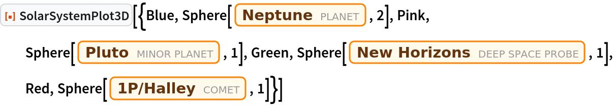 "ResourceFunction[  ""SolarSystemPlot3D""][{Blue, Sphere[Entity[""Planet"", ""Neptune""], 2], Pink, Sphere[Entity[""MinorPlanet"", ""Pluto""], 1], Green, Sphere[Entity[""DeepSpaceProbe"", ""NEWHorizons""], 1], Red, Sphere[Entity[""Comet"", ""Comet1PHalley""], 1]}]"