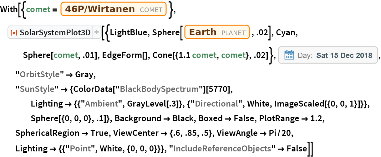 "With[{comet = Entity[""Comet"", ""Comet46PWirtanen""]}, ResourceFunction[   ""SolarSystemPlot3D""][{LightBlue, Sphere[Entity[""Planet"", ""Earth""], .02], Cyan, Sphere[comet, .01], EdgeForm[], Cone[{1.1 comet, comet}, .02]}, DateObject[{2018, 12, 15}, ""Day"", ""Gregorian"", -6.`], ""OrbitStyle"" -> Gray, ""SunStyle"" -> {ColorData[""BlackBodySpectrum""][5770], Lighting -> {{""Ambient"", GrayLevel[.3]}, {""Directional"", White, ImageScaled[{0, 0, 1}]}}, Sphere[{0, 0, 0}, .1]}, Background -> Black, Boxed -> False, PlotRange -> 1.2, SphericalRegion -> True, ViewCenter -> {.6, .85, .5}, ViewAngle -> Pi/20, Lighting -> {{""Point"", White, {0, 0, 0}}}, ""IncludeReferenceObjects"" -> False]]"
