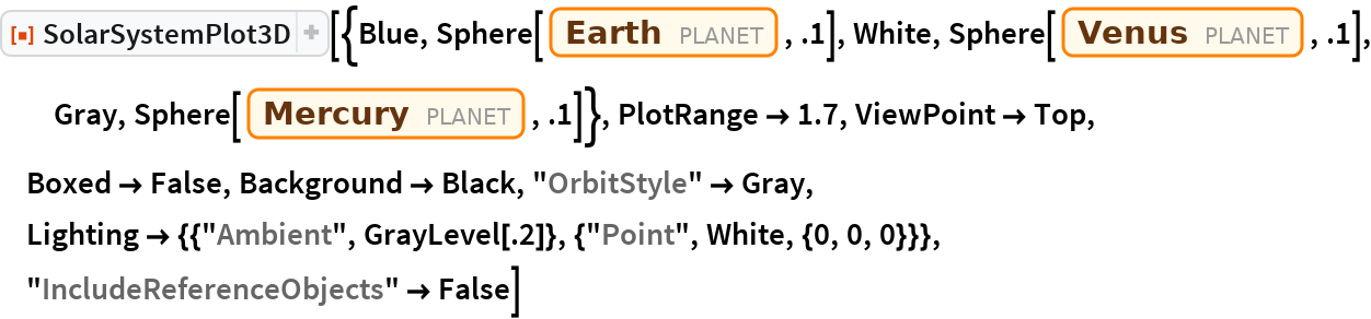 "ResourceFunction[  ""SolarSystemPlot3D""][{Blue, Sphere[Entity[""Planet"", ""Earth""], .1], White, Sphere[Entity[""Planet"", ""Venus""], .1], Gray, Sphere[Entity[""Planet"", ""Mercury""], .1]}, PlotRange -> 1.7, ViewPoint -> Top, Boxed -> False, Background -> Black, ""OrbitStyle"" -> Gray, Lighting -> {{""Ambient"", GrayLevel[.2]}, {""Point"", White, {0, 0, 0}}}, ""IncludeReferenceObjects"" -> False]"