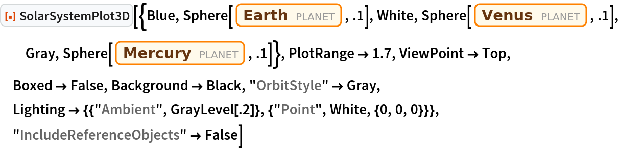 """ResourceFunction[  """"SolarSystemPlot3D""""][{Blue, Sphere[Entity[""""Planet"""", """"Earth""""], .1], White, Sphere[Entity[""""Planet"""", """"Venus""""], .1], Gray, Sphere[Entity[""""Planet"""", """"Mercury""""], .1]}, PlotRange -> 1.7, ViewPoint -> Top, Boxed -> False, Background -> Black, """"OrbitStyle"""" -> Gray, Lighting -> {{""""Ambient"""", GrayLevel[.2]}, {""""Point"""", White, {0, 0, 0}}}, """"IncludeReferenceObjects"""" -> False]"""