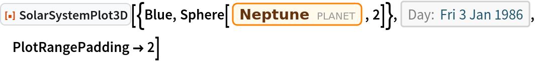"ResourceFunction[  ""SolarSystemPlot3D""][{Blue, Sphere[Entity[""Planet"", ""Neptune""], 2]}, DateObject[{1986, 1, 3}, ""Day"", ""Gregorian"", -6.`], PlotRangePadding -> 2]"