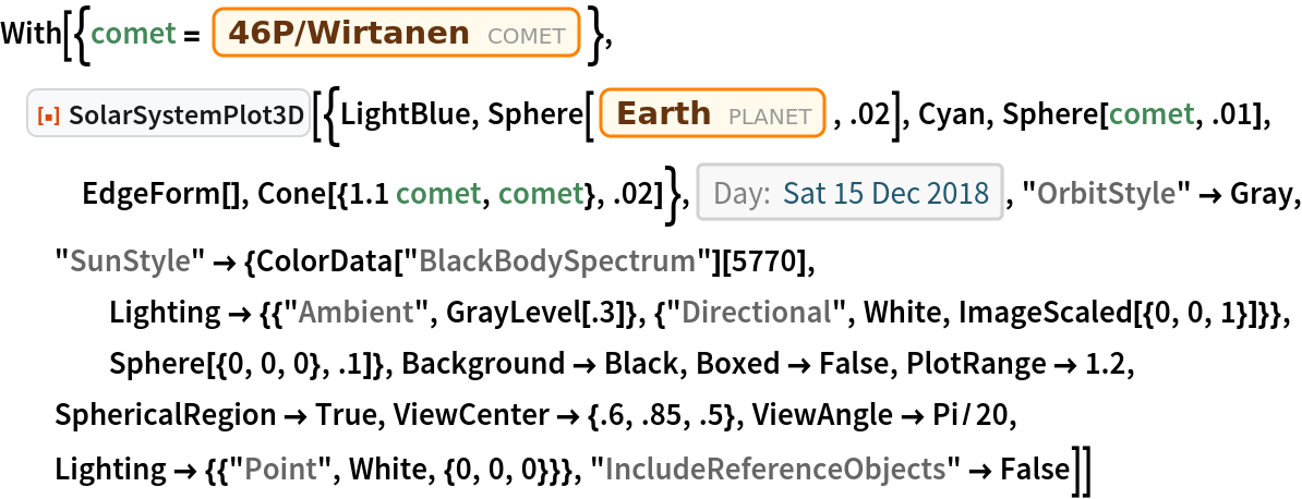 """With[{comet = Entity[""""Comet"""", """"Comet46PWirtanen""""]}, ResourceFunction[   """"SolarSystemPlot3D""""][{LightBlue, Sphere[Entity[""""Planet"""", """"Earth""""], .02], Cyan, Sphere[comet, .01], EdgeForm[], Cone[{1.1 comet, comet}, .02]}, DateObject[{2018, 12, 15}, """"Day"""", """"Gregorian"""", -6.`], """"OrbitStyle"""" -> Gray, """"SunStyle"""" -> {ColorData[""""BlackBodySpectrum""""][5770], Lighting -> {{""""Ambient"""", GrayLevel[.3]}, {""""Directional"""", White, ImageScaled[{0, 0, 1}]}}, Sphere[{0, 0, 0}, .1]}, Background -> Black, Boxed -> False, PlotRange -> 1.2, SphericalRegion -> True, ViewCenter -> {.6, .85, .5}, ViewAngle -> Pi/20, Lighting -> {{""""Point"""", White, {0, 0, 0}}}, """"IncludeReferenceObjects"""" -> False]]"""