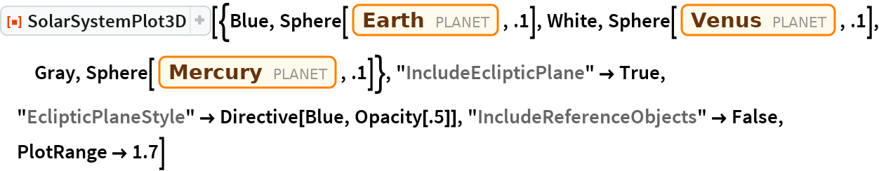 "ResourceFunction[  ""SolarSystemPlot3D""][{Blue, Sphere[Entity[""Planet"", ""Earth""], .1], White, Sphere[Entity[""Planet"", ""Venus""], .1], Gray, Sphere[Entity[""Planet"", ""Mercury""], .1]}, ""IncludeEclipticPlane"" -> True, ""EclipticPlaneStyle"" -> Directive[Blue, Opacity[.5]], ""IncludeReferenceObjects"" -> False, PlotRange -> 1.7]"