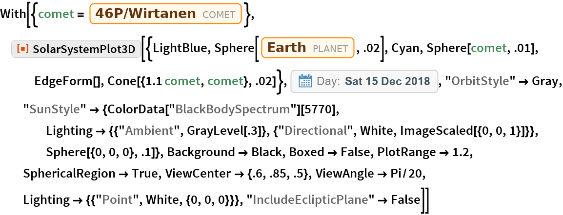 "With[{comet = Entity[""Comet"", ""Comet46PWirtanen""]}, ResourceFunction[   ""SolarSystemPlot3D""][{LightBlue, Sphere[Entity[""Planet"", ""Earth""], .02], Cyan, Sphere[comet, .01], EdgeForm[], Cone[{1.1 comet, comet}, .02]}, DateObject[{2018, 12, 15}, ""Day"", ""Gregorian"", -6.`], ""OrbitStyle"" -> Gray, ""SunStyle"" -> {ColorData[""BlackBodySpectrum""][5770], Lighting -> {{""Ambient"", GrayLevel[.3]}, {""Directional"", White, ImageScaled[{0, 0, 1}]}}, Sphere[{0, 0, 0}, .1]}, Background -> Black, Boxed -> False, PlotRange -> 1.2, SphericalRegion -> True, ViewCenter -> {.6, .85, .5}, ViewAngle -> Pi/20, Lighting -> {{""Point"", White, {0, 0, 0}}}, ""IncludeEclipticPlane"" -> False]]"