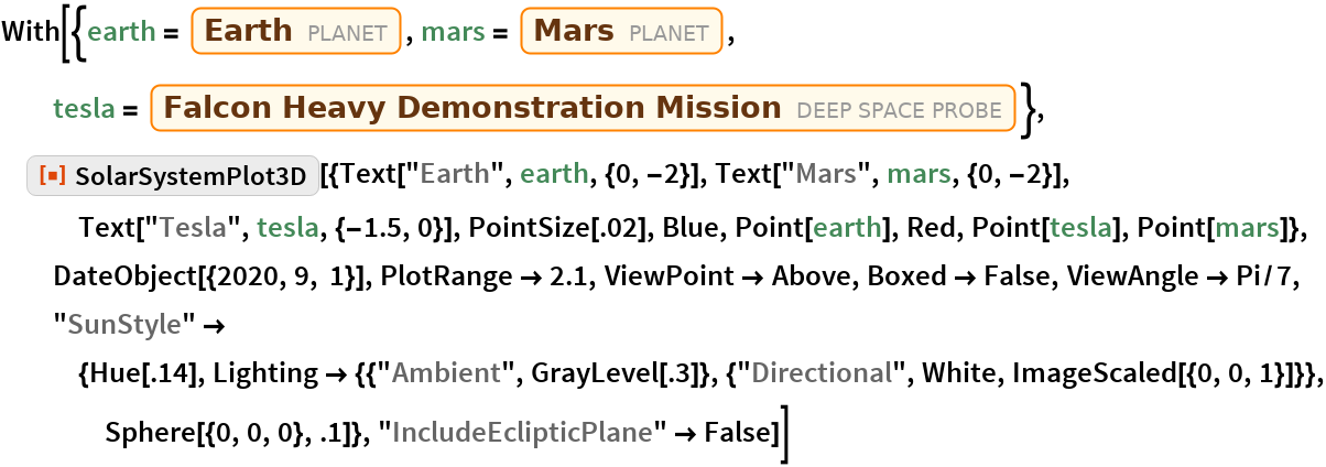 "With[{earth = Entity[""Planet"", ""Earth""], mars = Entity[""Planet"", ""Mars""], tesla = Entity[""DeepSpaceProbe"", ""FalconHeavyDemonstrationMission""]},  ResourceFunction[   ""SolarSystemPlot3D""][{Text[""Earth"", earth, {0, -2}], Text[""Mars"", mars, {0, -2}], Text[""Tesla"", tesla, {-1.5, 0}], PointSize[.02], Blue, Point[earth], Red, Point[tesla], Point[mars]}, DateObject[{2020, 9, 1}], PlotRange -> 2.1, ViewPoint -> Above, Boxed -> False, ViewAngle -> Pi/7, ""SunStyle"" -> {Hue[.14], Lighting -> {{""Ambient"", GrayLevel[.3]}, {""Directional"", White, ImageScaled[{0, 0, 1}]}}, Sphere[{0, 0, 0}, .1]}, ""IncludeEclipticPlane"" -> False]]"