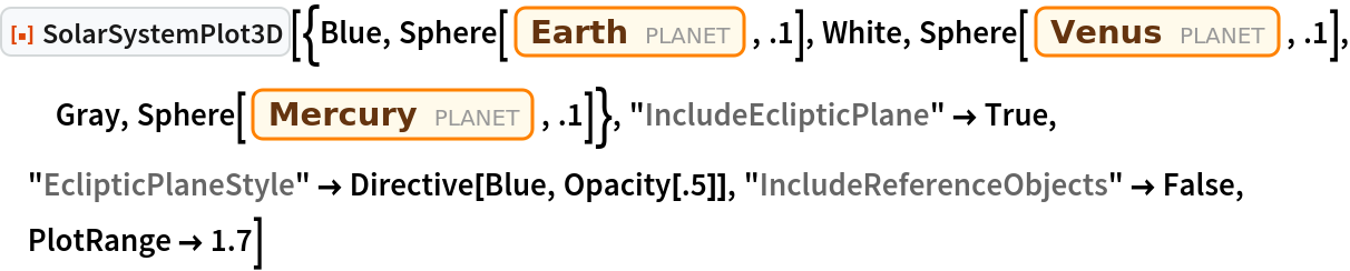 """ResourceFunction[  """"SolarSystemPlot3D""""][{Blue, Sphere[Entity[""""Planet"""", """"Earth""""], .1], White, Sphere[Entity[""""Planet"""", """"Venus""""], .1], Gray, Sphere[Entity[""""Planet"""", """"Mercury""""], .1]}, """"IncludeEclipticPlane"""" -> True, """"EclipticPlaneStyle"""" -> Directive[Blue, Opacity[.5]], """"IncludeReferenceObjects"""" -> False, PlotRange -> 1.7]"""