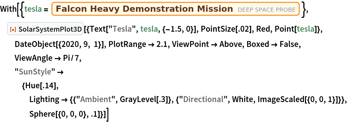 """With[{tesla = Entity[""""DeepSpaceProbe"""", """"FalconHeavyDemonstrationMission""""]},  ResourceFunction[   """"SolarSystemPlot3D""""][{Text[""""Tesla"""", tesla, {-1.5, 0}], PointSize[.02], Red, Point[tesla]}, DateObject[{2020, 9, 1}], PlotRange -> 2.1, ViewPoint -> Above, Boxed -> False, ViewAngle -> Pi/7, """"SunStyle"""" -> {Hue[.14], Lighting -> {{""""Ambient"""", GrayLevel[.3]}, {""""Directional"""", White, ImageScaled[{0, 0, 1}]}}, Sphere[{0, 0, 0}, .1]}]]"""